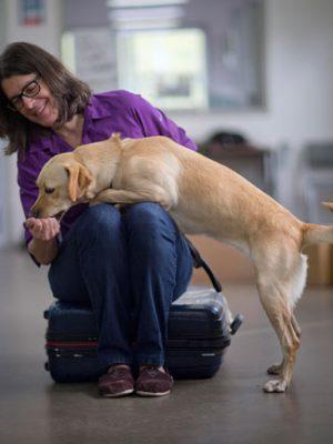 Susan Friedman con labrador